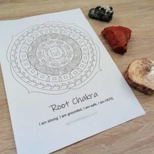 Root Chakra Mandala Coloring Page