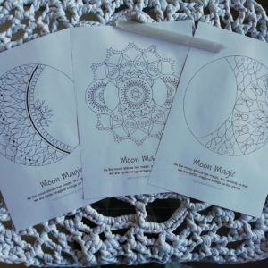 Moon Magic Mandala Coloring Pages Trio