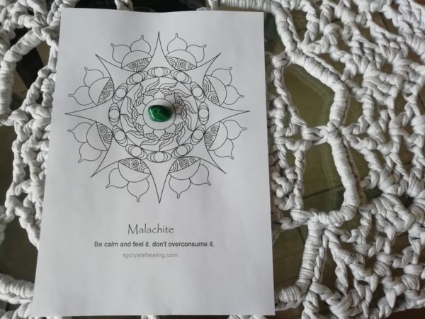 Crystal Mandala Coloring Page – Malachite